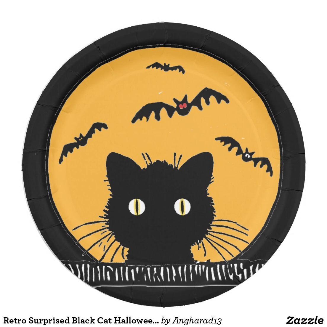 Retro Surprised Black Cat Halloween 9