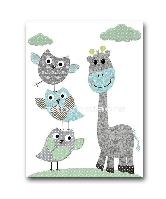 Kids wall art Owl Nursery Owl decor Baby Nursery by artbynataera  sc 1 st  Pinterest & Kids wall art Owl Nursery Owl decor Baby Nursery by artbynataera ...
