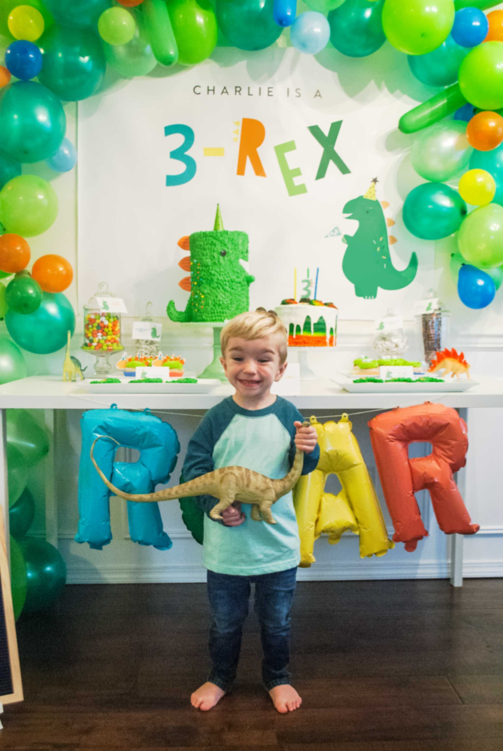This 3 Rex Birthday Party Is A Roaring Good Time Project Nursery Boy Birthday Parties Boy Birthday Party Themes Dinosaur Party Decorations