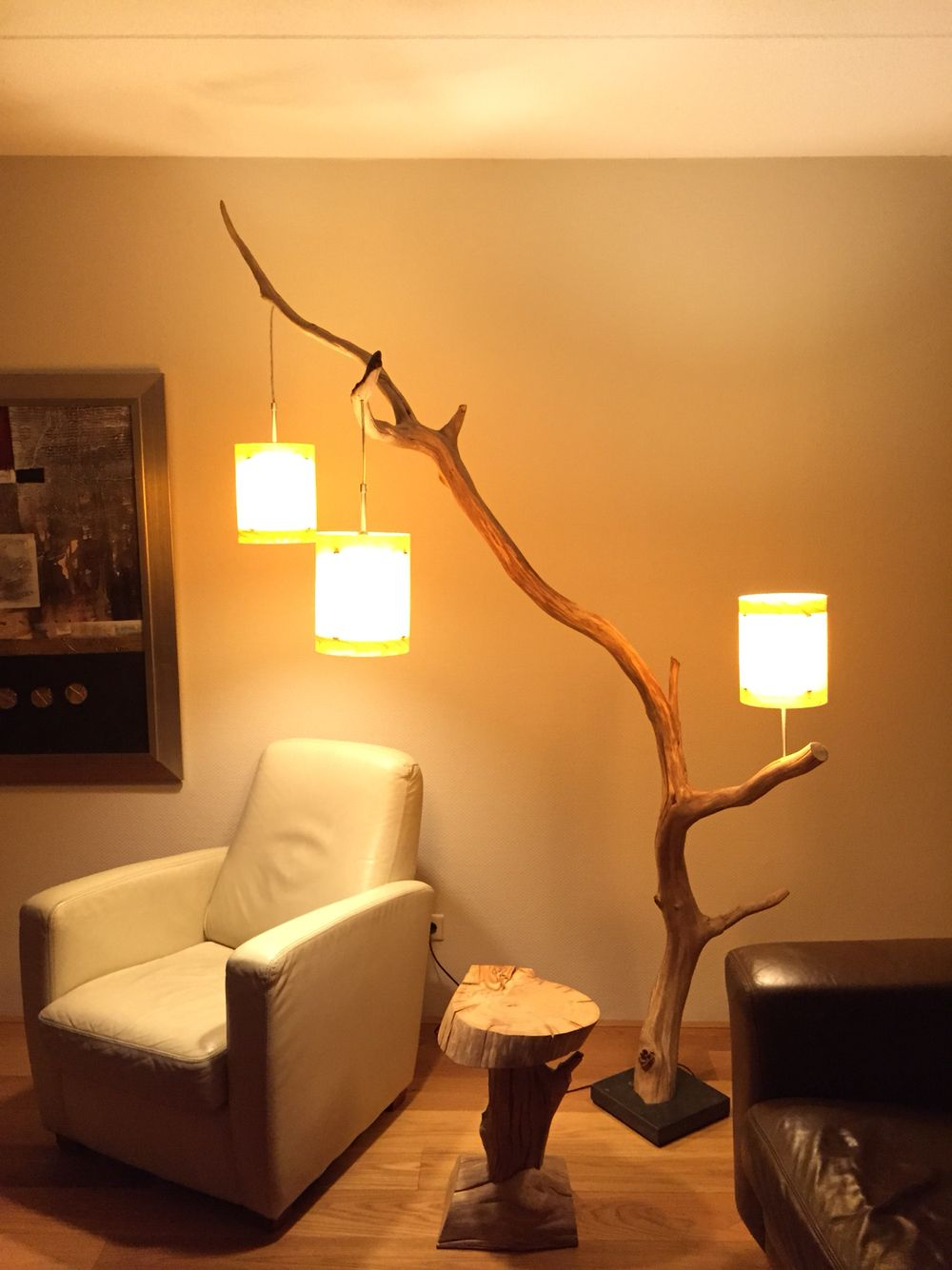 Floor Lamp: Weathered Old Oak Branch. Made By GBH NatureArt, For More Info