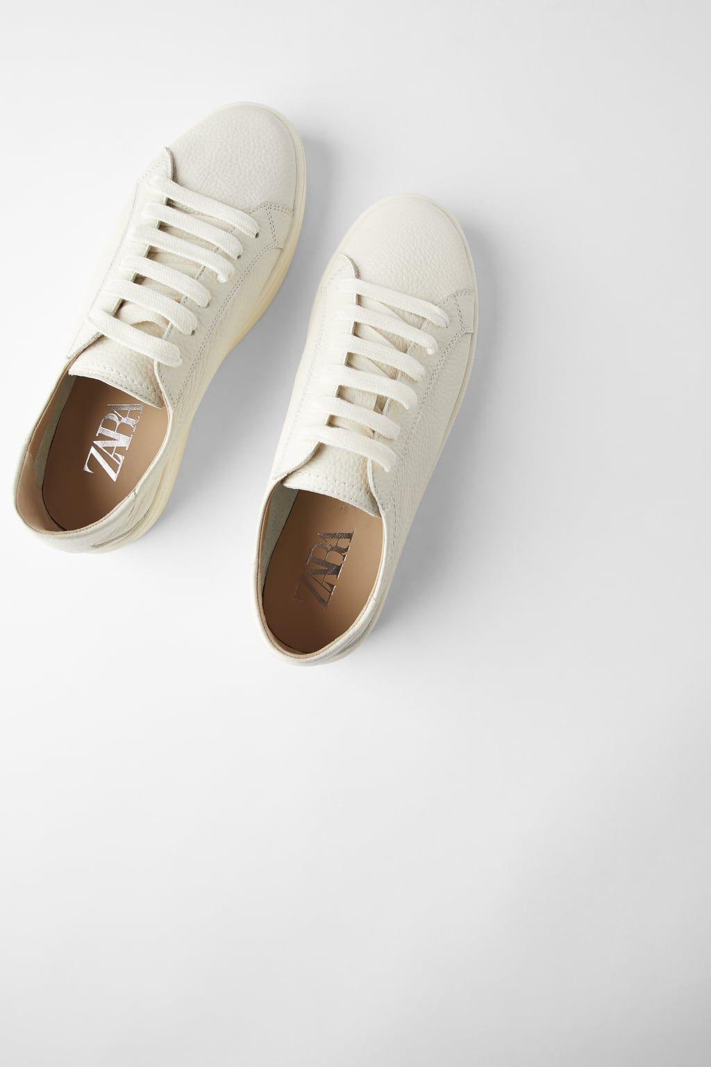 Skorzane Buty Sportowe Typu Soft Zara Polska Print Sneakers Sneakers Zara Sneakers