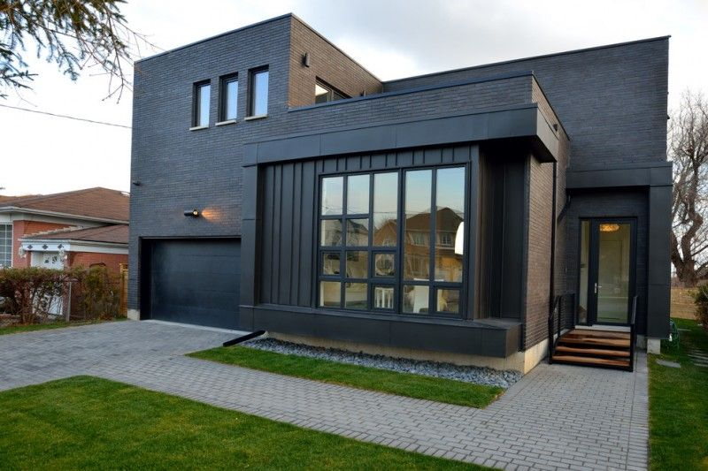 contemporary home design with large mirror glass windows glass