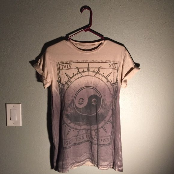 """""""see the unknown"""" tee dip dye shirt, only worn maybe 3 times. in good condition except for small weird blue stain on the sleeve. its not really noticeable especially if you fold them. **not urban outfitters- i got it at earthbound but theres no category for it on here** Urban Outfitters Tops Tees - Short Sleeve"""