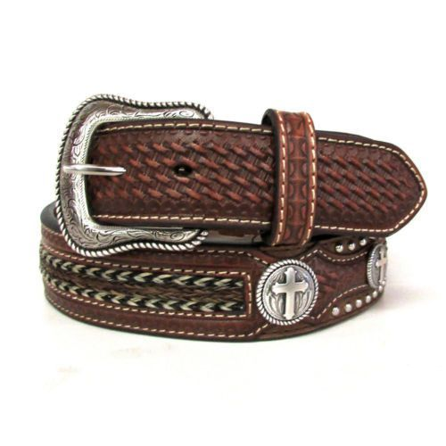 Nocona Men s Cross Concho Horse Hair Belt  6d6f0dd65d94