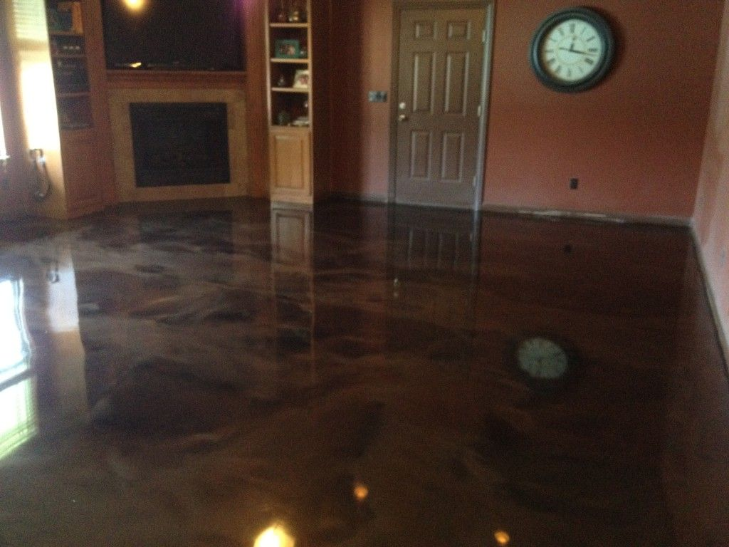 Epoxy garage floor paint ideas ideas grezu home interior - Interior Astounding Home Interior Decoration Using Dark Brown Marble Flooring Over Concrete Slab Along With Brown Interior Wall Paint And Light Oak Wood