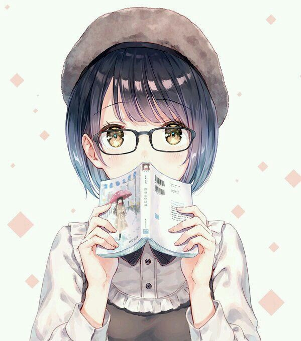 Anime girl book reader hat glasses short hair