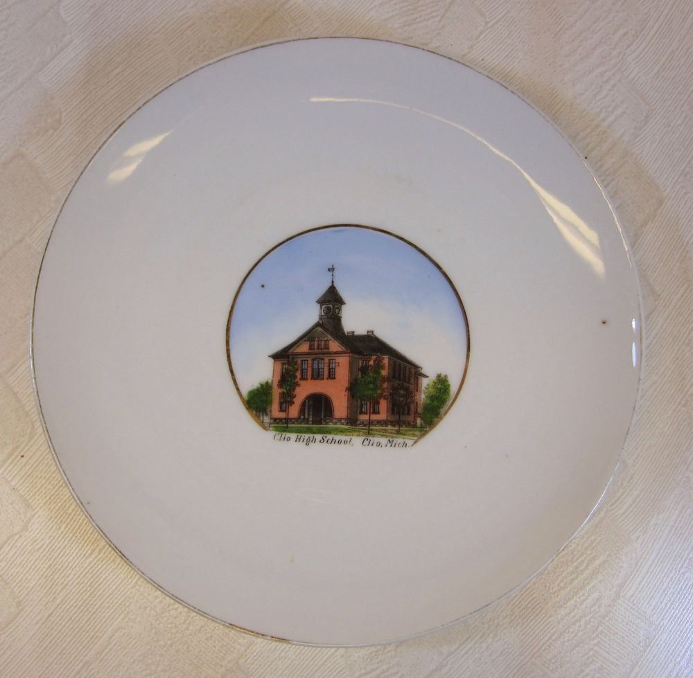Antique Clio Michigan High School Souvenir Plate Porcelain Picture Huyck Germany