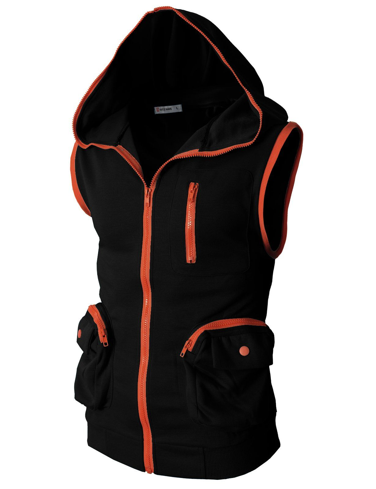 1720f8a7dcb14 H2H Mens Fashion Active Slim fit Sleeveless Hoodie Zip-up Vest With ...