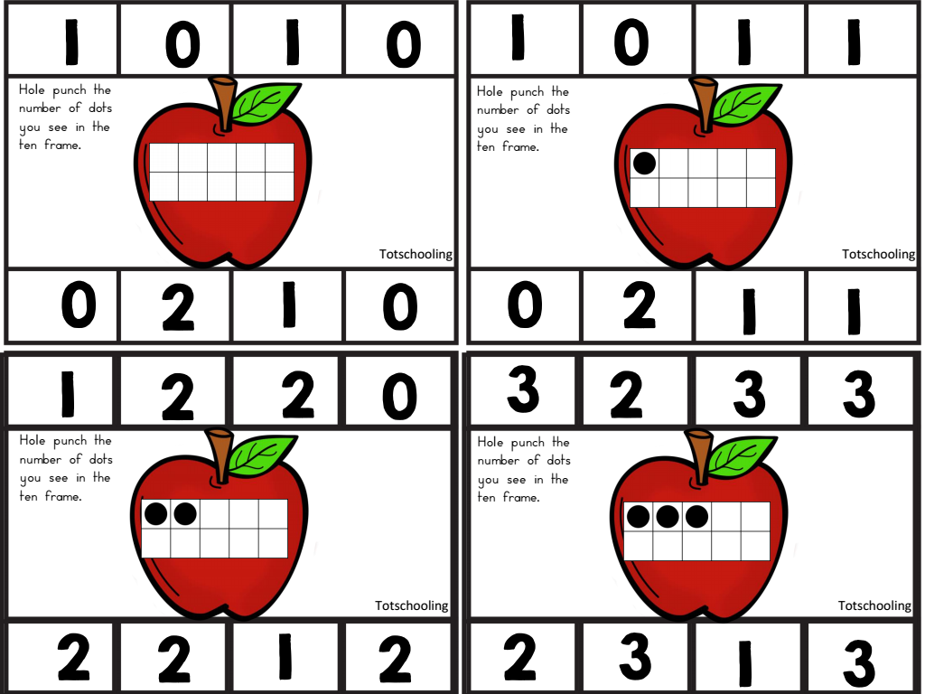 Free Apple Ten Frame Punch Cards
