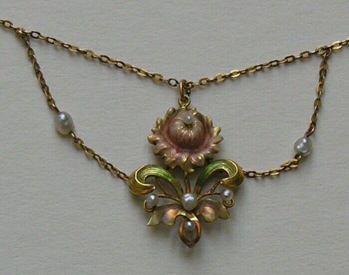 ART NOUVEAU - Enameled Pearl Festoon Necklace <3