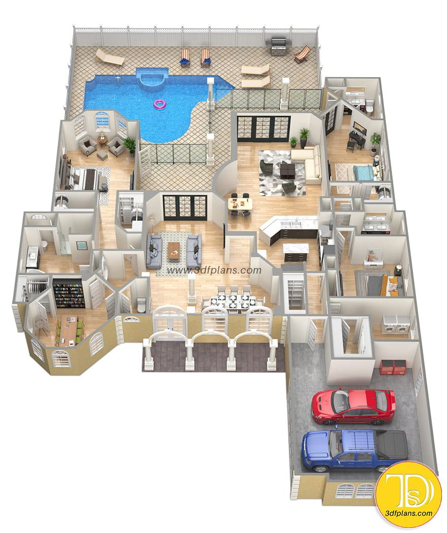 Floor Plan Mansion 3d Model House Plan