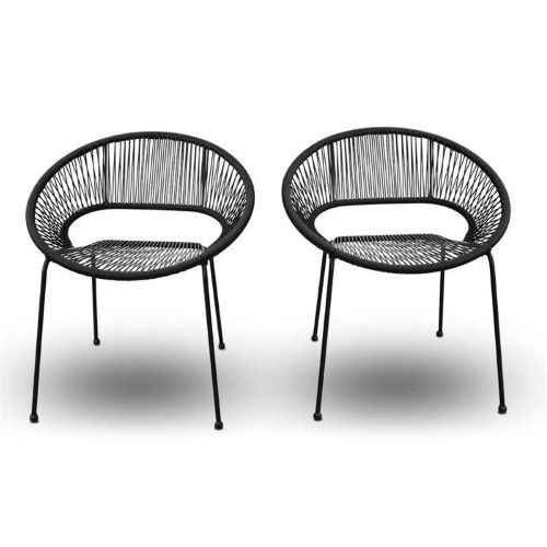 Harmonia Living Acapulco Patio Dining Chair In Jet Black Side Chairs Dining Patio Dining Chairs Outdoor Dining Chairs