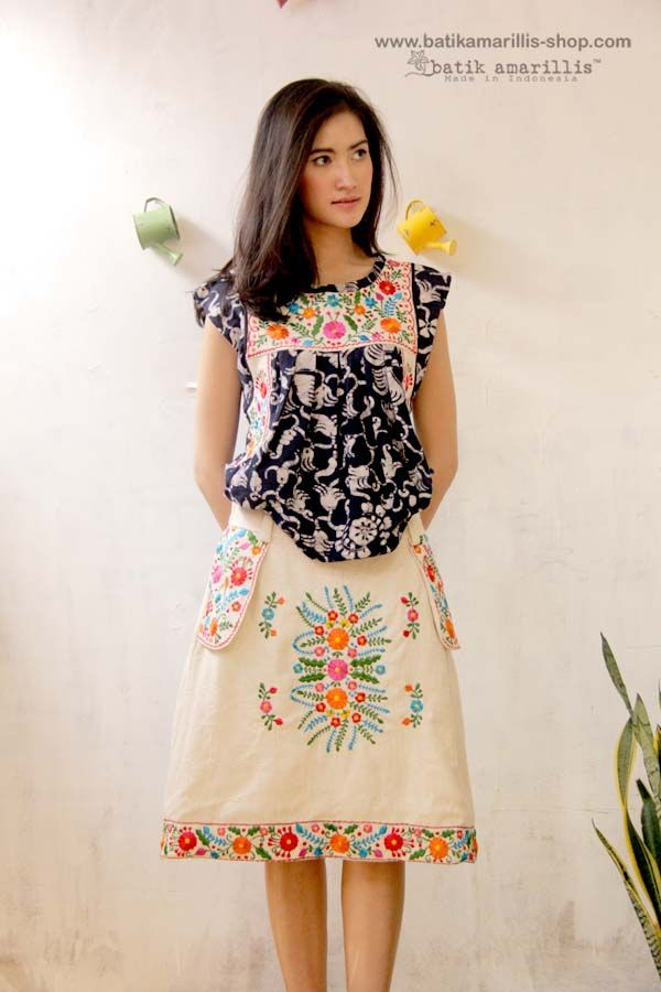 Batik Amarillis Made in Indonesia ... Mexican folk art inspired... Frida blouse & Amarantha Mexican Embroidery skirt