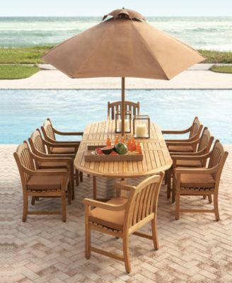 Bristol Teak Outdoor Dining Collection Macys Com Patio Furniture