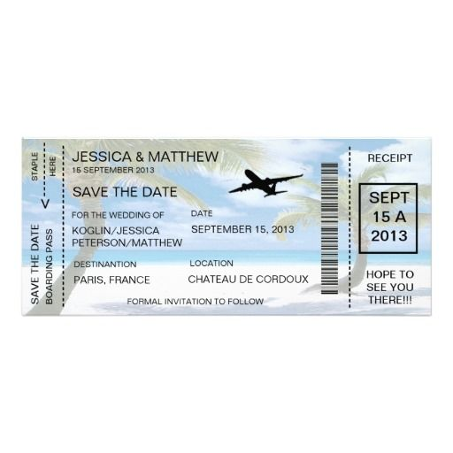 Boarding Pass Save The Date Invitation Announcemen  Boarding Pass