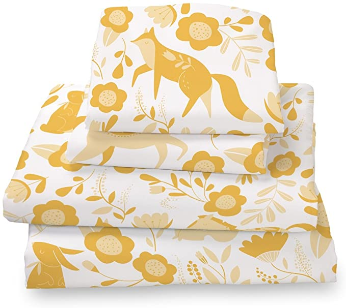 Where The Polka Dots Roam Twin Size Bed Sheets Marigold Yellow Folktale Print 3 Piece Set │ Unisex, Flexible Microfiber, Durable, Wrinkle-Resistant Bedding │ Boys, Girls, Baby, Kids, Toddler, Teen