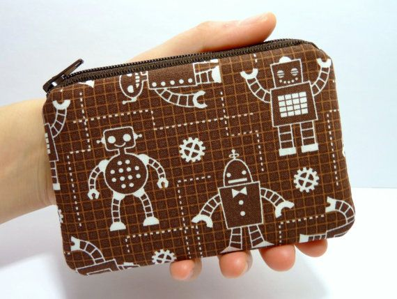Coin Purse Zipper Pouch Padded - Robot Factory Schematics