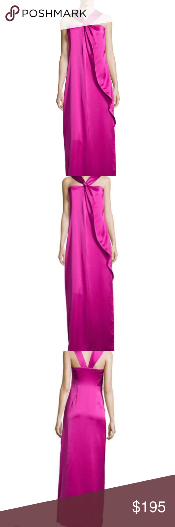 Halston Heritage knotted front ruffle gown NWT   Pinterest   Halston ...