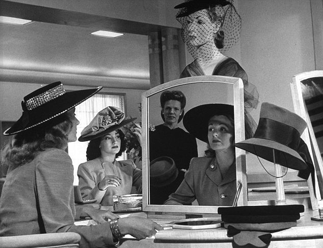 Women trying on hats in the originalNeiman Marcus store, 1945.