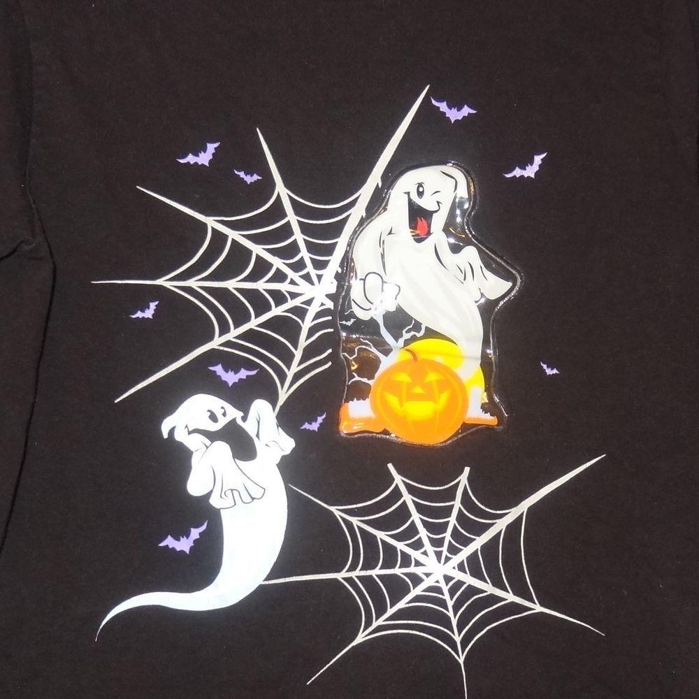 Halloween Ghost Bats Long Sleeve Black Shirt Size M8
