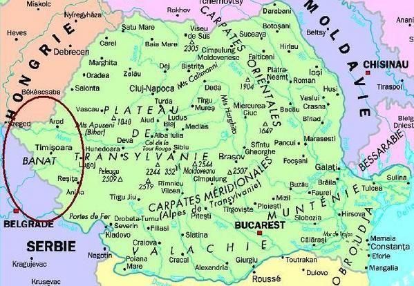 Carte De La Region Du Banat A Cheval Sur La Roumanie La Hongrie
