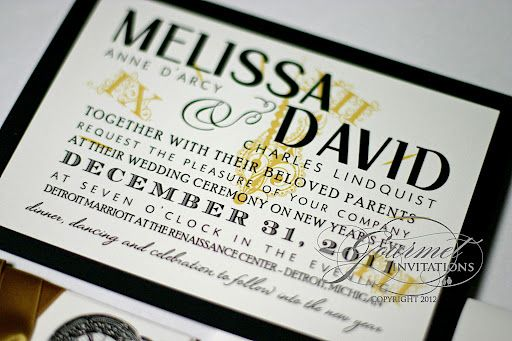 gold and black new years wedding invitations with a vintage clock theme