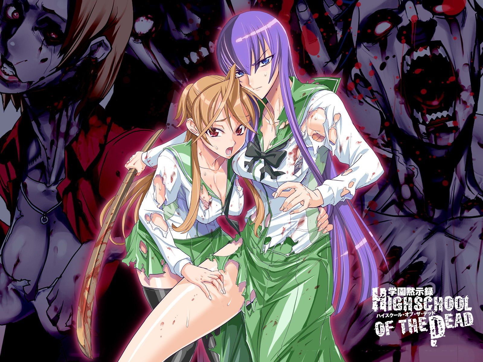 Anime Highschool Of The Dead Saeko Busujima Rei Miyamoto Wallpaper