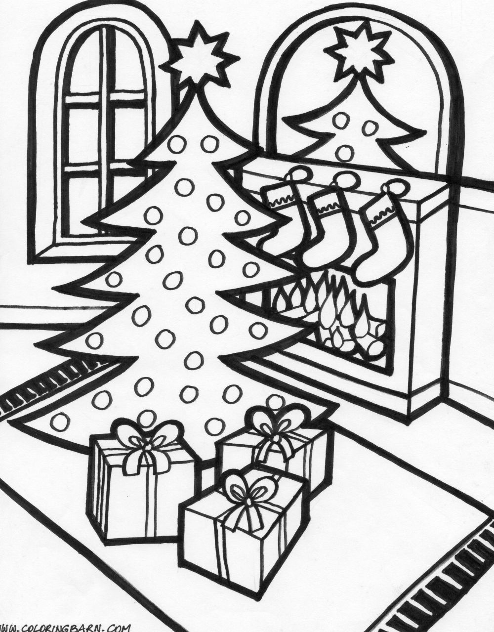 Christmas Scene Coloring Pages – Merry Christmas And Happy New Year 2018