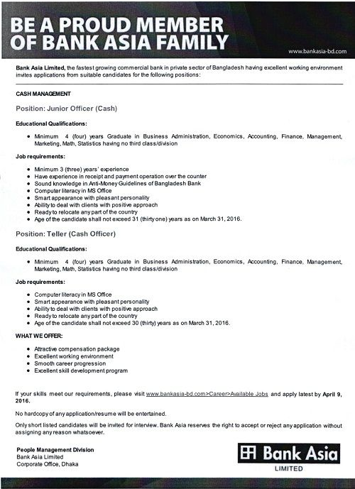 Bank Asia Limited Junior Officer Job Circular 2016 Job