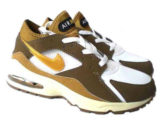Mens Nike Air Max 93 Shoes - White/Brown/Yellow Logo
