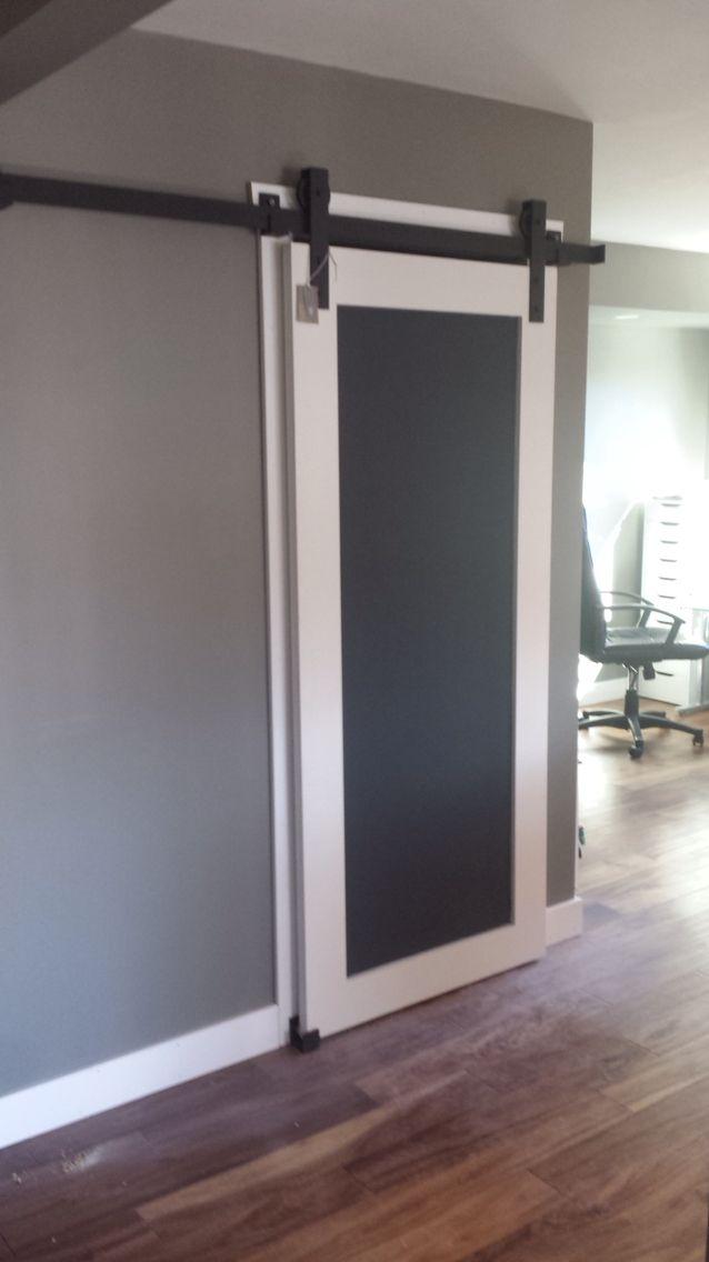 Chalkboard Style Closet Door Custom Barndoor Sliding Hardware To Slide Under Beam All Handmade Bathrooms Remodel Interior Barn Doors Barn Door Installation