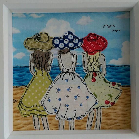 A Day At The Beach. Freemotion machine embroidery by