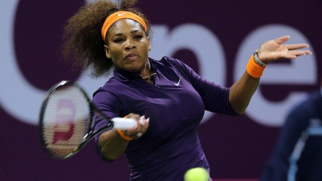 Serena Williams Of The U S Returns The Ball To Poland S Urszula Radwanska On The Fourth Day Of The Wta Qatar Ladies O Serena Williams Tennis Ranking Old Women