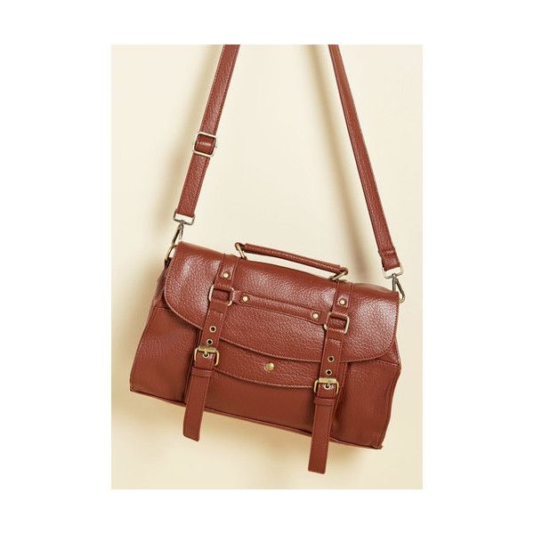 Vintage Inspired, Rustic, Scholastic Buckle Down the Satchels Bag ($60) ❤ liked on Polyvore featuring bags, handbags, accessories, brown, satchel, strap purse, satchel purses, vegan purses, buckle handbags and faux leather purses