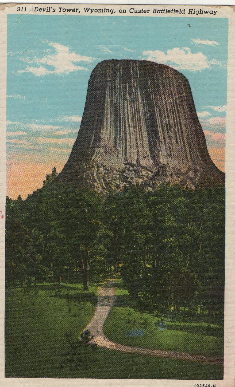 Devils Tower Wyoming Postcard Hagins Collection