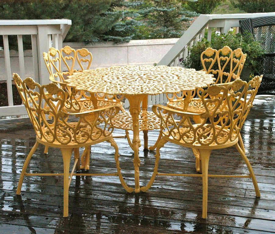 Used To Be A Rusted White Peeling Metal Filigree Table But Thanks