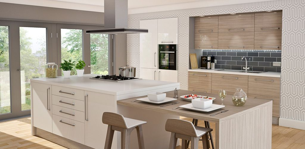 wren living - autograph driftwood gloss kitchen | kitchens