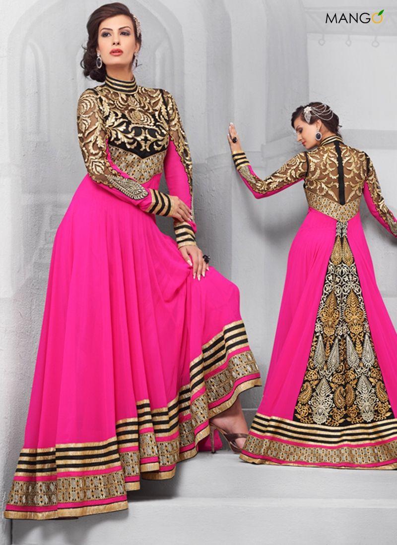 Glossy Pink Floor Length Anarkali Suit Code 6927 Price