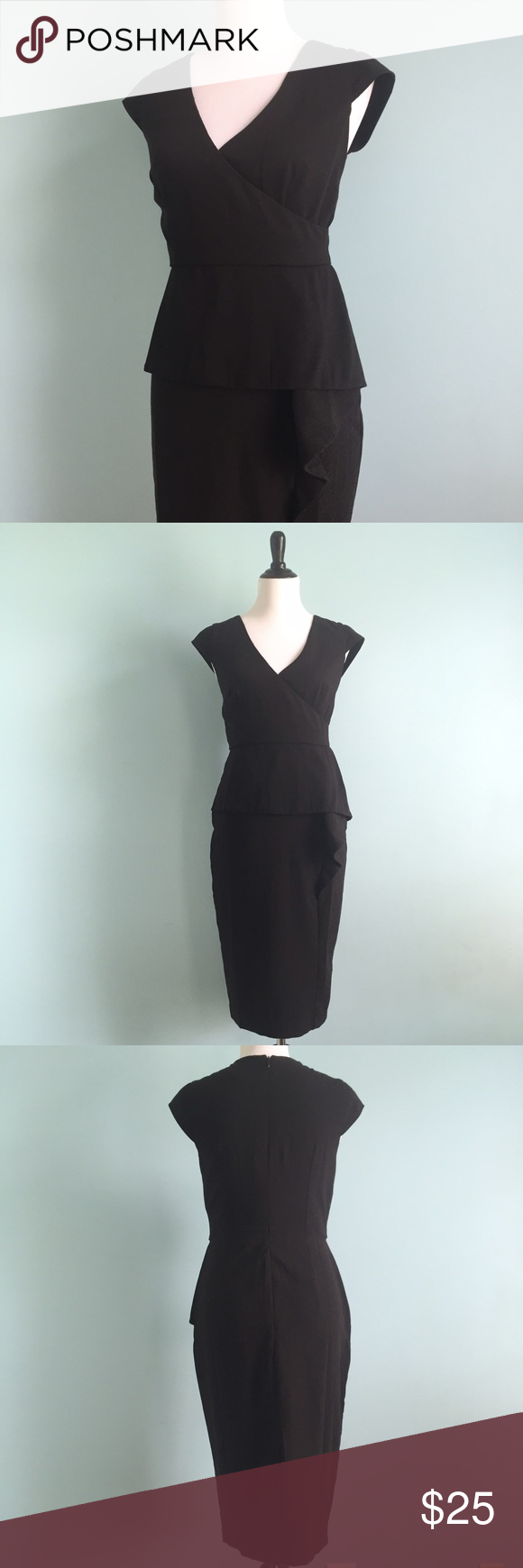 ASOS Black Dress Beautiful black midi asymmetrical dress with v-neckline. Peplum detailing with ruffle on one side. Super flattering shape and comfortable. In great condition. US size 8. Asos Dresses Midi