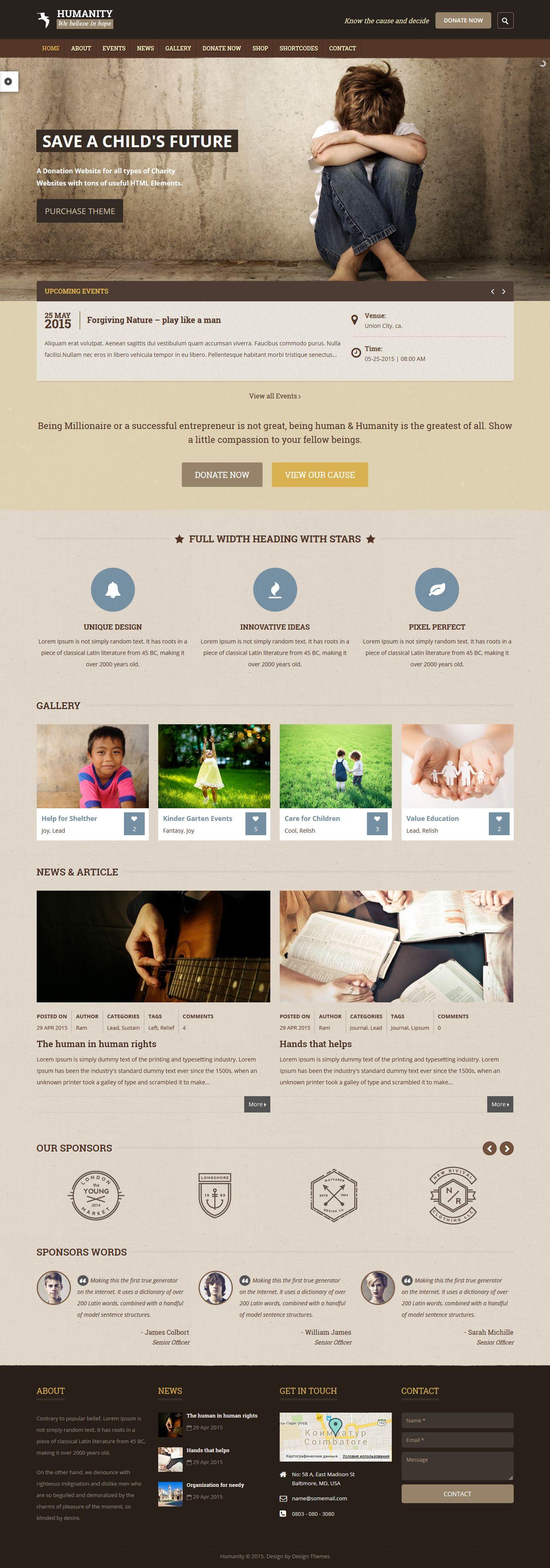 Humanity | NGO & Charity WordPress Theme #webdesign #website Download: http://themeforest.net/item/humanity-ngo-charity-wordpress-theme/12208721?ref=ksioks