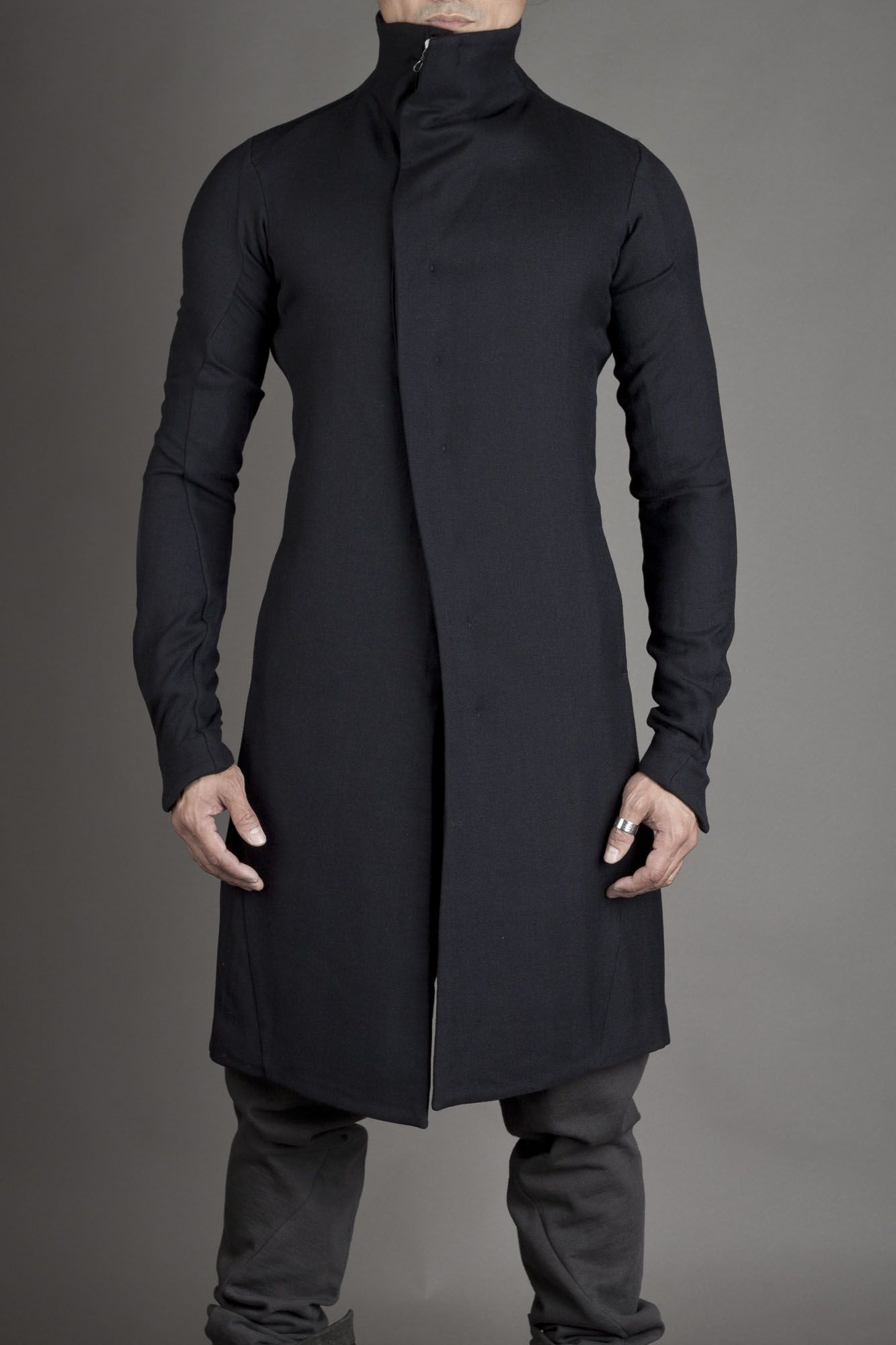 Blue/Black Fitted Coat, by Devoa FCT-NKH, Men's Fall