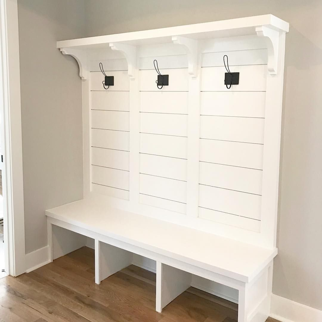 Clean And Simple Mudroom Bench Thanks To Dreamingofhomemaking For Inspiring My Hook Selection I Pla Diy Mudroom Bench Plans Mudroom Bench Mudroom Cubbies