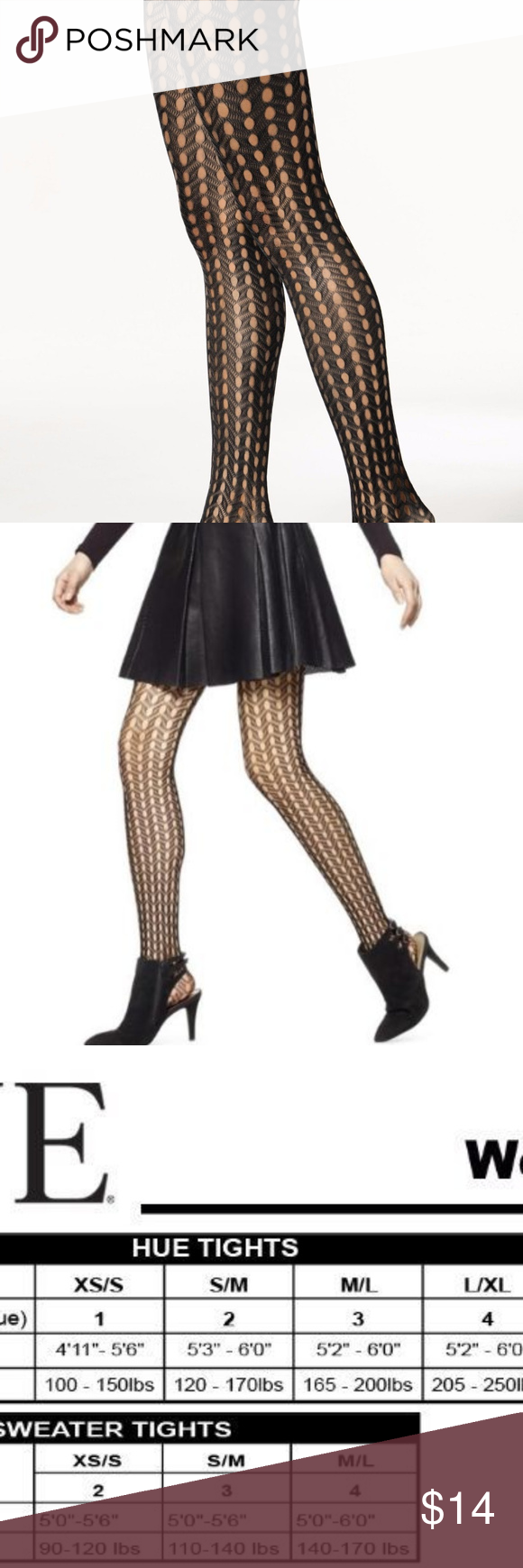 6a4c6b875a7 Hue Openwork Net Chevron Tights BLACK SZ S M Hue Openwork Net Chevron Tights  79001