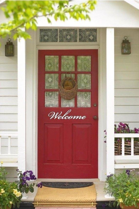 Welcome For Front Door Outside Vinyl Lettering Text Red Front Door Front Door Colors Exterior Doors