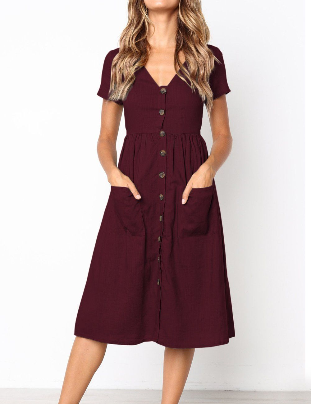 a021a23b1ae MEROKEETY Women s Summer Short Sleeve V Neck Button Down Swing Midi Dress  with Pockets at Amazon Women s Clothing store