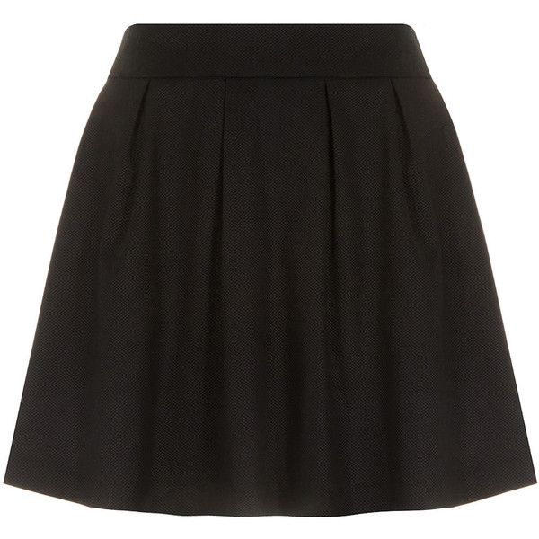 Dorothy Perkins Black textured skater skirt ($17) ❤ liked on Polyvore featuring skirts, bottoms, jupe, saias, textured skirt, pleated circle skirt, dorothy perkins, pleated skater skirt and knee length pleated skirt