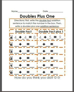 Double Facts Plus 1 Easier And Harder Facts Math Fact Worksheets Doubles Facts First Grade Math Worksheets