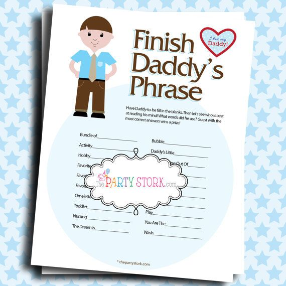 Baby Shower Games Finish Daddyu0027s Phrase PRINTABLE By Thepartystork, ...