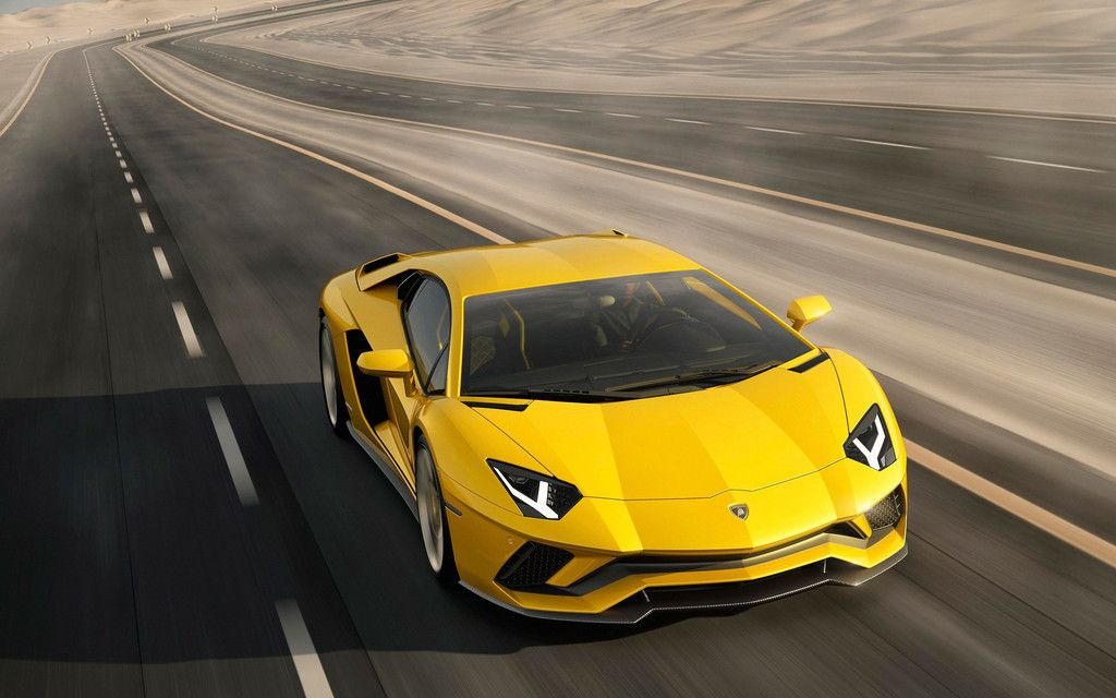 Yellow Sports Car Lamborghini Aventador On Road Wallpaper