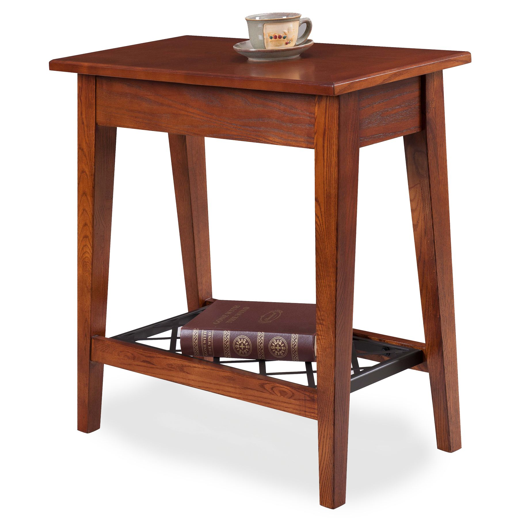 Leick Westwood Oak Narrow Chair Side Table, Silver
